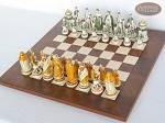 picture of The Battle of Kazan Chessmen with Italian Lacquered Chess Board [Wood] (2 of 8)