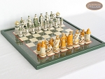 The Battle of Kazan Chessmen with Italian Lacquered Chess Board [Green] - Item: 868