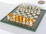 picture of The Battle of Kazan Chessmen with Italian Lacquered Chess Board [Green] (2 of 8)