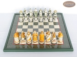 picture of The Battle of Kazan Chessmen with Italian Lacquered Chess Board [Green] (3 of 8)