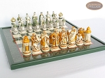 picture of The Battle of Kazan Chessmen with Italian Lacquered Chess Board [Green] (5 of 8)
