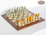 The Battle of Kazan Chessmen with Spanish Traditional Chess Board [Large] - Item: 866