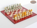 The Battle of Kazan Chessmen with Italian Lacquered Chess Board [Red] - Item: 870