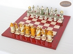 picture of The Battle of Kazan Chessmen with Italian Lacquered Chess Board [Red] (2 of 8)