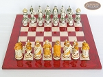 picture of The Battle of Kazan Chessmen with Italian Lacquered Chess Board [Red] (3 of 8)