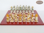 picture of The Battle of Kazan Chessmen with Italian Lacquered Chess Board [Red] (4 of 8)
