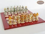 picture of The Battle of Kazan Chessmen with Italian Lacquered Chess Board [Red] (5 of 8)