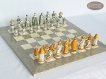 The Battle of Kazan Chessmen with Large Spanish Lacquered Chess Board [Grey] - Item: 873