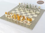 picture of The Battle of Kazan Chessmen with Large Spanish Lacquered Chess Board [Grey] (2 of 6)