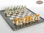 The Battle of Kazan Chessmen with Italian Lacquered Board [Black] - Item: 871