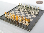 picture of The Battle of Kazan Chessmen with Italian Lacquered Board [Black] (2 of 8)