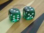3/8 in. Rounded High Gloss Lucent Dice - Green (1 pair)