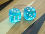 3/8 in. Rounded High Gloss Lucent Dice - Turquoise (1 pair) - Item: 3183
