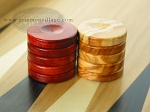 picture of Backgammon Checkers - Olive Wood - Red (1 in. Dia.) - Set of 30 (2 of 2)