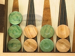 Backgammon Checkers - Olive Wood - Green (1 in. Dia.) - Set of 30 - Item: 2438