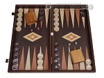 19-inch Wood Backgammon Set - Wenge with Printed Field - Item: 3139