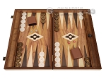 19-inch Wood Backgammon Set - Walnut with Printed Field and Side Racks - Item: 3899