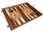 picture of 19-inch Wood Backgammon Set - Walnut with Printed Field and Side Racks (2 of 11)