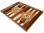 picture of 19-inch Wood Backgammon Set - Walnut with Printed Field and Side Racks (3 of 11)