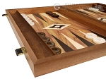 picture of 19-inch Wood Backgammon Set - Walnut with Printed Field and Side Racks (5 of 11)