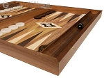 19-inch Wood Backgammon Set - Walnut with Printed Field and Side Racks