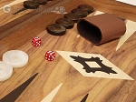 picture of 19-inch Wood Backgammon Set - Walnut with Printed Field and Side Racks (8 of 11)