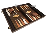 picture of 19-inch Wood Backgammon Set - Wenge with Printed Field and Side Racks (2 of 11)