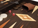 picture of 19-inch Wood Backgammon Set - Wenge with Printed Field and Side Racks (8 of 11)