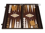 19-inch Wood Backgammon Set - Wenge with Brown Leatherette Field - Item: 3902
