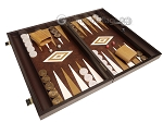 picture of 19-inch Wood Backgammon Set - Wenge with Brown Leatherette Field (2 of 11)