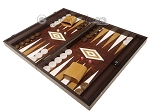picture of 19-inch Wood Backgammon Set - Wenge with Brown Leatherette Field (3 of 11)