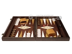 picture of 19-inch Wood Backgammon Set - Wenge with Brown Leatherette Field (4 of 11)