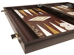 picture of 19-inch Wood Backgammon Set - Wenge with Brown Leatherette Field (5 of 11)