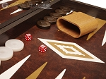 19-inch Wood Backgammon Set - Wenge with Brown Leatherette Field