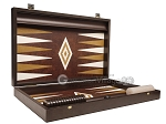 picture of 19-inch Wood Backgammon Set - Wenge with Brown Leatherette Field (9 of 11)