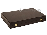 picture of 19-inch Wood Backgammon Set - Wenge with Brown Leatherette Field (10 of 11)
