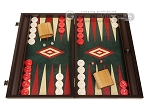 19-inch Wood Backgammon Set - Wenge with Green Leatherette Field - Item: 3901