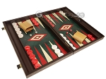 picture of 19-inch Wood Backgammon Set - Wenge with Green Leatherette Field (2 of 11)
