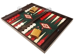 picture of 19-inch Wood Backgammon Set - Wenge with Green Leatherette Field (3 of 11)