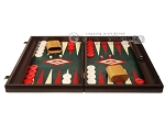 19-inch Wood Backgammon Set - Wenge with Green Leatherette Field