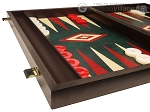 picture of 19-inch Wood Backgammon Set - Wenge with Green Leatherette Field (5 of 11)