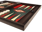 picture of 19-inch Wood Backgammon Set - Wenge with Green Leatherette Field (6 of 11)
