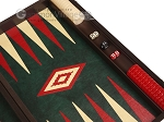 picture of 19-inch Wood Backgammon Set - Wenge with Green Leatherette Field (7 of 11)