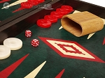 picture of 19-inch Wood Backgammon Set - Wenge with Green Leatherette Field (8 of 11)