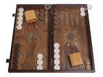 Walnut Backgammon Set with Inlaid Bronze and Natural Mother of Pearl - Apollo - Item: 3171