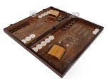 picture of Walnut Backgammon Set with Inlaid Bronze and Natural Mother of Pearl - Apollo (3 of 11)