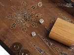 picture of Walnut Backgammon Set with Inlaid Bronze and Natural Mother of Pearl - Apollo (7 of 11)