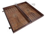 picture of Walnut Backgammon Set with Inlaid Bronze and Natural Mother of Pearl - Apollo (8 of 11)