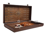 picture of Walnut Backgammon Set with Inlaid Bronze and Natural Mother of Pearl - Apollo (9 of 11)