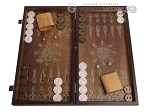 Walnut Backgammon Set with Inlaid Bronze and Natural Mother of Pearl - Athena - Item: 3172
